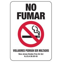 Spanish New Jersey No Smoking Sign