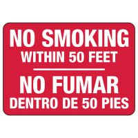 Bilingual No Smoking Within 50 Feet Sign