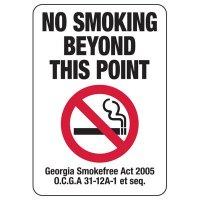 Georgia No Smoking Beyond This Point Sign