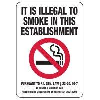 Rhode Island Illegal To Smoke Sign