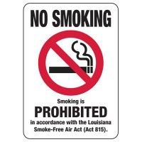 Louisiana Smoking Is Prohibited Sign