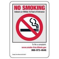 Illinois Smoke-Free Workplace Law Signs - No Smoking Indoors
