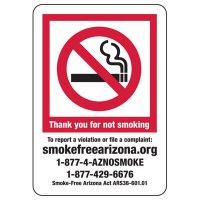 Arizona Thank You For Not Smoking Sign