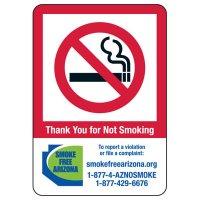 Arizona Smoke-Free Workplace Law Signs - No Smoking
