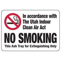 Utah Clean Air Act No Smoking Sign