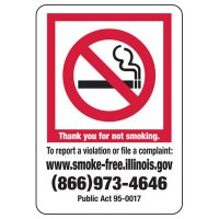 Illinois Thank You For Not Smoking Sign