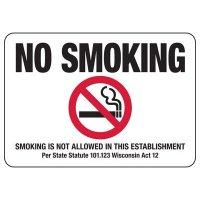 Wisconsin No Smoking Sign