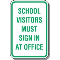 School Visitors Sign In At Office Sign