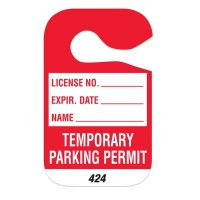 Temporary Parking Permit - Cardstock Hanging Parking Permits