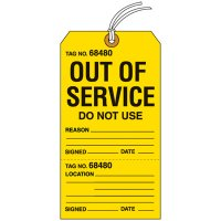 Out Of Service Tear-Off Tags