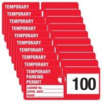 Temporary Parking Permit - Rectangular Cardstock Parking Permits