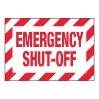ToughWash® Adhesive Signs - Emergency Shut-Off