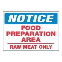 ToughWash® Adhesive Signs - Notice Food Preparation Area