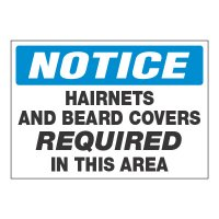 ToughWash® Adhesive Signs - Notice Hairnets Required