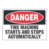 ToughWash® Adhesive Signs - Danger Machine Starts And Stops