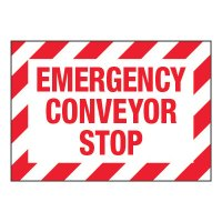 ToughWash® Adhesive Signs - Emergency Conveyor Stop