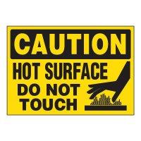 ToughWash® Adhesive Signs - Caution Hot Surface