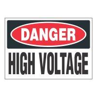 ToughWash® Adhesive Signs - Danger High Voltage