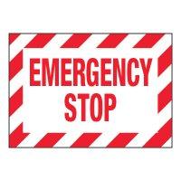 ToughWash® Adhesive Signs - Emergency Stop