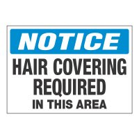 ToughWash® Adhesive Signs - Notice Hair Covering Required