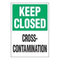 ToughWash® Adhesive Signs - Keep Closed Cross-Contamination