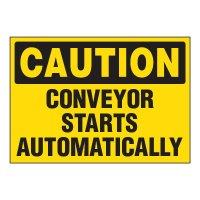ToughWash® Adhesive Signs - Caution Conveyor Starts