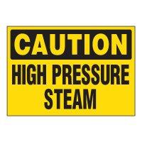 ToughWash® Adhesive Signs - Caution High Pressure Steam