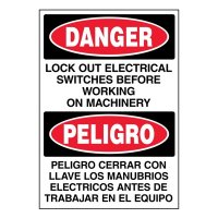 Bilingual Super-Stik Signs - Danger Lock Out Electrical