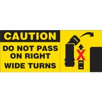 Caution Wide Turn Vehicle Warning Labels