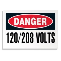 Voltage Warning Labels - Danger 120/208 Volts