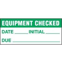Equipment Checked Status Label