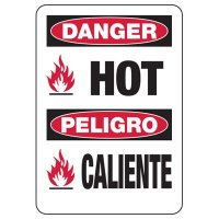 Bilingual Danger Hot Safety Sign