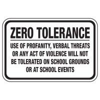 Zero Tolerance Use Of Profanity - Playground Sign
