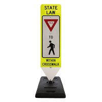 Spring-Back Pedestrian Crossing Signs With Base - State Law Yield To Pedestrian