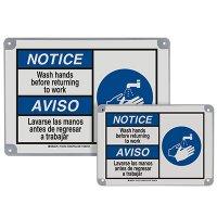 ToughWash® Encapsulated Signs - Notice Wash Hands, Bilingual