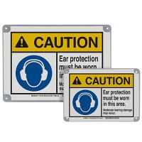 ToughWash® Encapsulated Signs - Caution Ear Protection