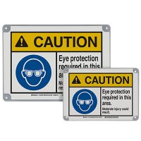 ToughWash® Encapsulated Signs - Caution Eye Protection