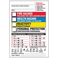 Bilingual Personal Protection Key NFPA Chemical Hazard Label