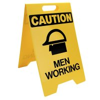 Caution Men Working Floor Stand