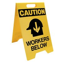 Caution Workers Below Floor Stand