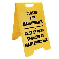Bilingual Closed For Maintenance Floor Stand