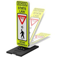 "YIELD To Pedestrians Within Crosswalk - State Law - 36"" H x 12"" W Plastic Fluorescent Reflective Crosswalk Sign"