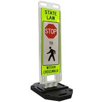 "STOP State Law Stop For Pedestrians Within Crosswalk - 51"" H x 14"" W Plastic Diamond-Grade Traffic Control Paddle"