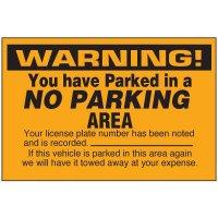 No Parking Area Warning Labels