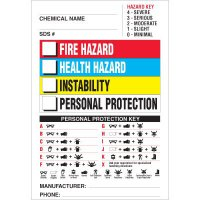 PPE Chemical Hazard Labels - Fire, Health, Instability