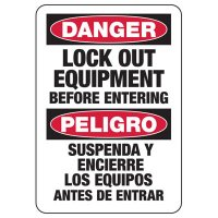 Bilingual Lockout Signs - Danger Lock Out Equipment Before Entering