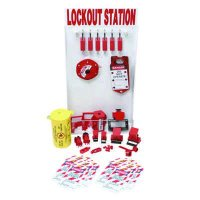Small Lockout Station With Components & 6 Brady Steel Padlocks, 12 Tags