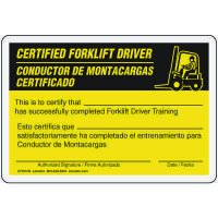 Bilingual Certified Forklift Driver Card
