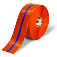 """4"""" Orange Mighty Line Safety Floor Tape with Blue Center Line"""