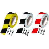 Interior Vinyl Warning Tape - White/Black Striped - Emedco